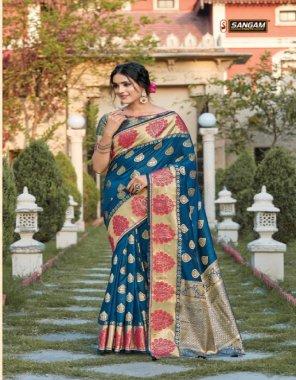 rama blue pure soft silk fabric print work casual