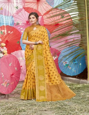 yellow cotton handloom fabric print work casual
