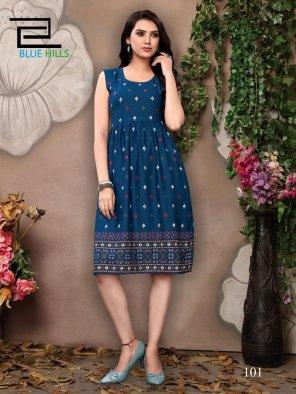 blue rayon fabric printed work casual