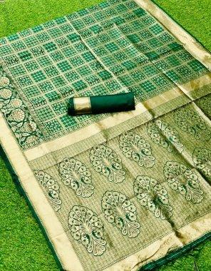 green banarsi silk fabric printed work casual
