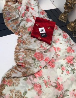 red organza & satin silk fabric flower print + embroidery work work festive