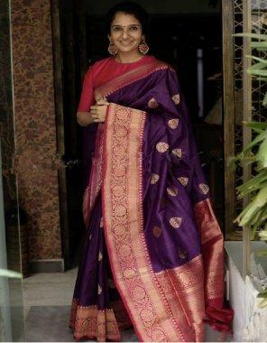 purple lichi silk fabric printed work casual