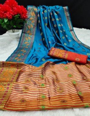 light blue lichi silk fabric embroidery work casual