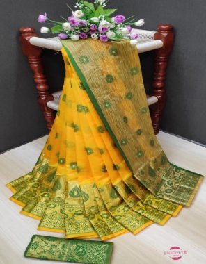 yellow & green soft & silky weaving jacquard  fabric meena work work casual