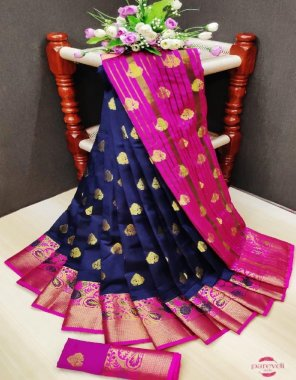 navy blue soft & silky weaving jacquard  fabric double zari work work festive