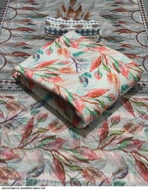 gry pashmina fabric printed work casual