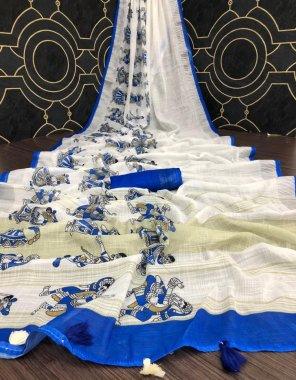 blue linen fabric print + silver jari work casual