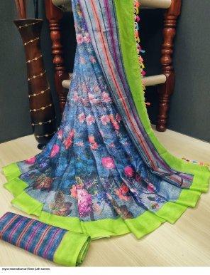 blue linen fabric digital printed work casual