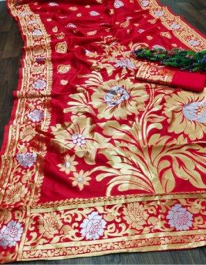 red lichi soft silk fabric printed work festive