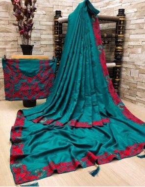 rama blue silk fabric embroidery +swaroski diamond work work casual