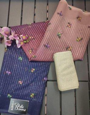 pink & purple soft georgette fabric sequance work + digital print work party wear