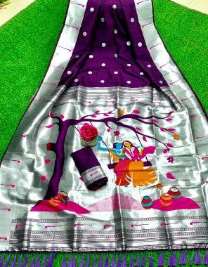burgandi banarasi soft silk fabric printed work casual