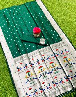 green banarasi silk fabric printed work casual