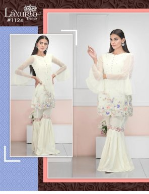 white faux georgette fabric embroidery work party wear