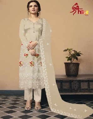 off white heavy georgette + santoon fabric embroidery + sequin work work casual