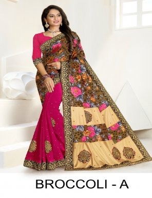 pink vichitra silk + brasso fabric embroidery work casual