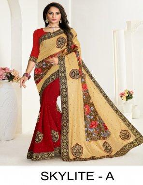 mauron vichitra silk + brasso fabric embroidery work wedding