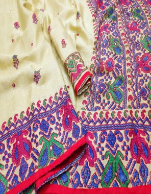 white cotton silk fabric embroidery + mirror work work casual