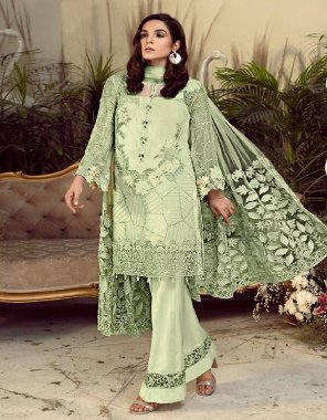 pastal green georgette fabric embroidery work casual