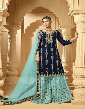 sky blue georgette fabric embroidery work casual