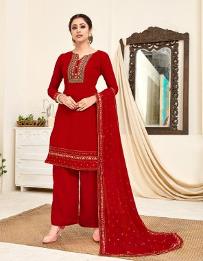 red georgette fabric embroidery work casual