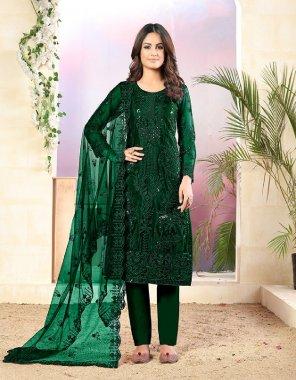 dark green net fabric sequance work ethic