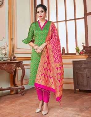 green banarasi silk fabric weaving work casual