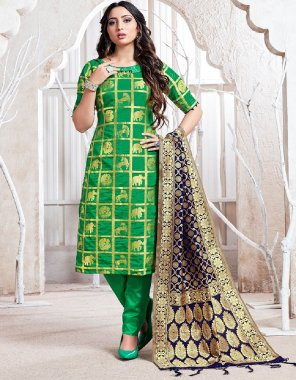green banarasi art silk fabric weaving work casual