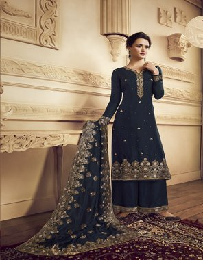 navy blue crape fabric embroidery work casual