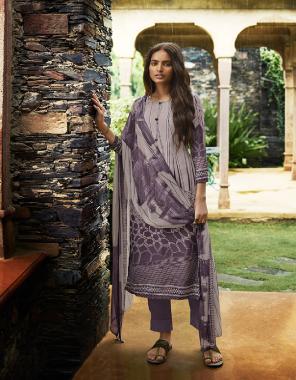 purple crape fabric printed work casual