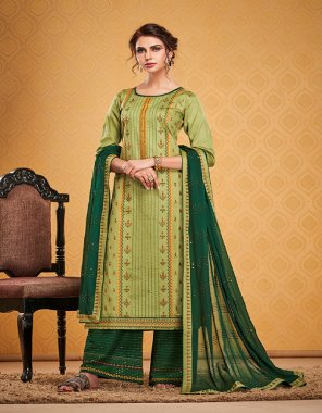 light green cotton silk fabric printed embroidery work casual