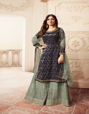 navy blue silk fabric jacquard work casual