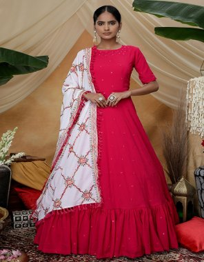 red georgette  fabric plain work ethic