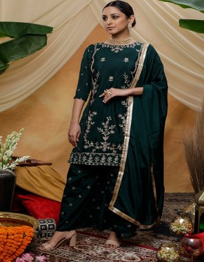 green chinon fabric embroidey work casual