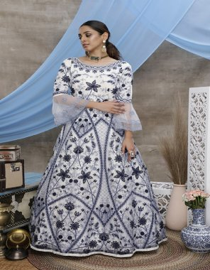 white net fabric thread embroidery work casual