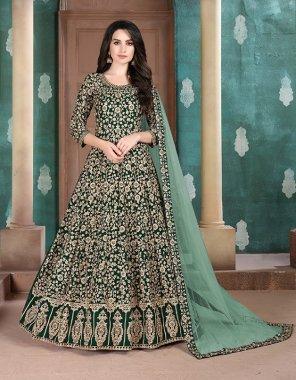 dark green georgette fabric heavy embroidery work ethic