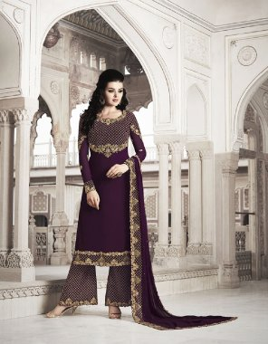 wine georgette fabric embroidery work casual