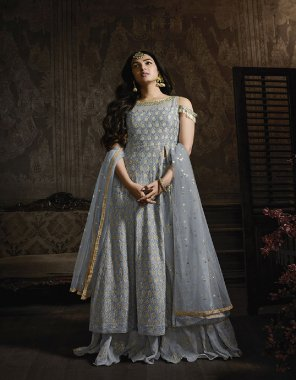 steel blue georgette fabric embroidery work casual