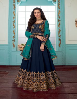 navy blue georgette fabric plain & embroidery work casual