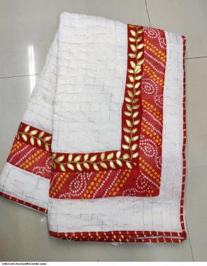 white  cotton fabric bandhni work work casual
