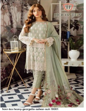light green heavy georgette fabric embroidery & patch work work festive