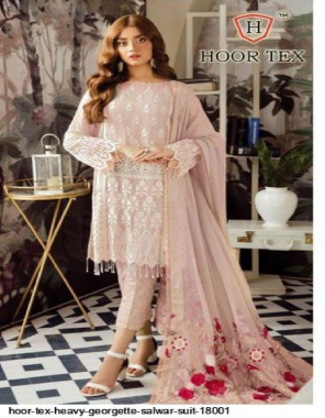 light pink heavy georgette fabric embroidery & patch work work festive