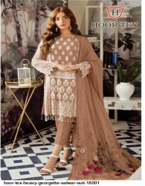 light brown heavy georgette fabric embroidery & patch work work party wear
