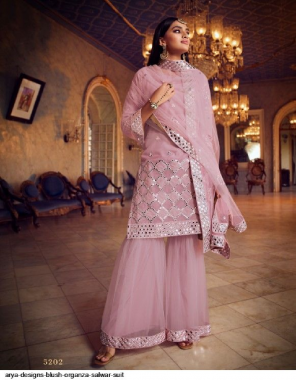 baby pink organza fabric stone work & embroidery work casual