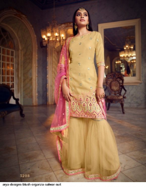 occur yellow organza fabric stone work & embroidery work ethic