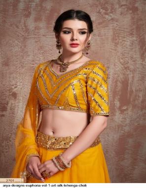 yellow art silk & satin fabric embroidery work casual