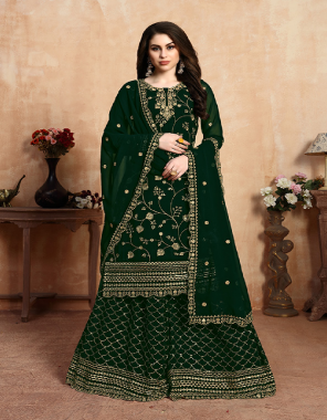 dark green georgette fabric embroidery work casual