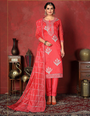rose pink model cotton fabric gota patti work work casual
