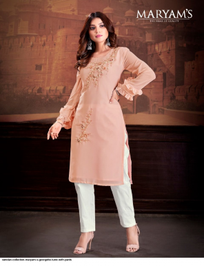 orange georgette fabric embroidry  work casual
