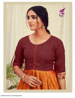 orange & brown silk fabric jacquard work casual
